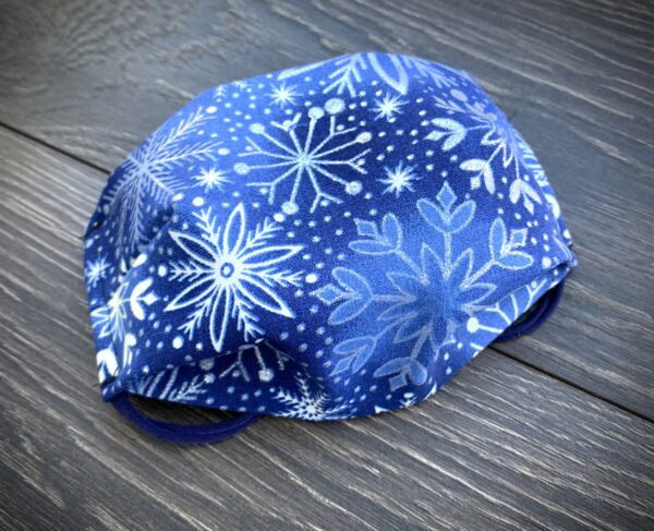 blue with silver snowflakes