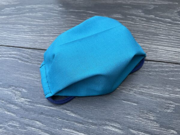 Solid turquoise cotton double triple mask